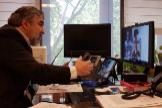 El ministro José Manuel Rodríguez Uribes en la reunión telemática mantenida con los representantes del sector cultural.
