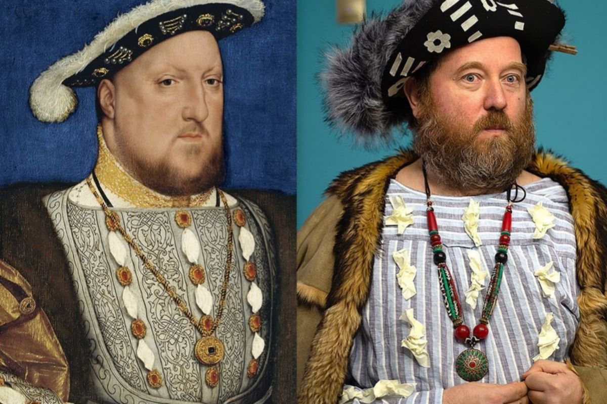 Andri Sharapa posando como hizo Enrique VIII para Hans Holbein
