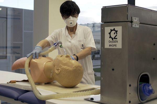 Ensayo del respitador con una paciente virtual.