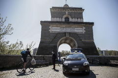 Rome (Italy).- Italian Carabinieri police officers check people in Ponte Milvio, during the country's lockdown over the coronavirus disease (COVID-19) pandemic, in Rome, Italy, 11 April 2020. The country is under lockdown in an attempt to stem the further widespread of the SARS-CoV-2 coronavirus that causes the COVID-19 disease. ( lt;HIT gt;Italia lt;/HIT gt;, Roma) EPA/