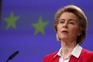 La presidenta de la Comisión Europea, Ursula Von der Leyen, en una rueda de prensa el pasado 2 de abril