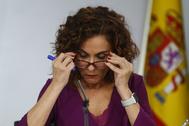 La ministra de Hacienda, María Jesús Montero, en rueda de prensa en Moncloa.