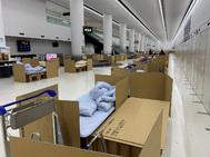 Camas de cartón en el aeropuerto japonés.