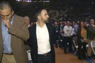 Ortega Smith, tosiendo en Vistalegre, en una imagen de la retransmisión de Vox.