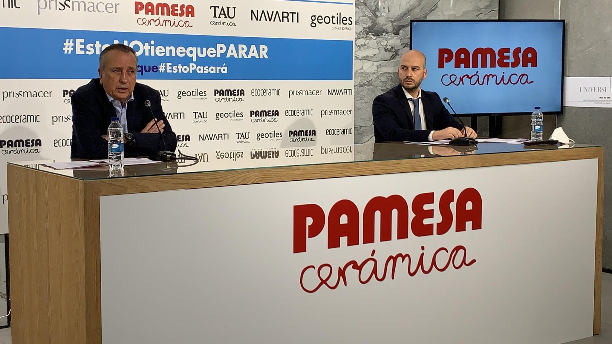 Fernado Roig, este jueves, en rueda de prensa explica las medidas en Pamesa.