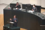 El alcalde, José Luis Martínez-Almeida, en su intervención en el Pleno