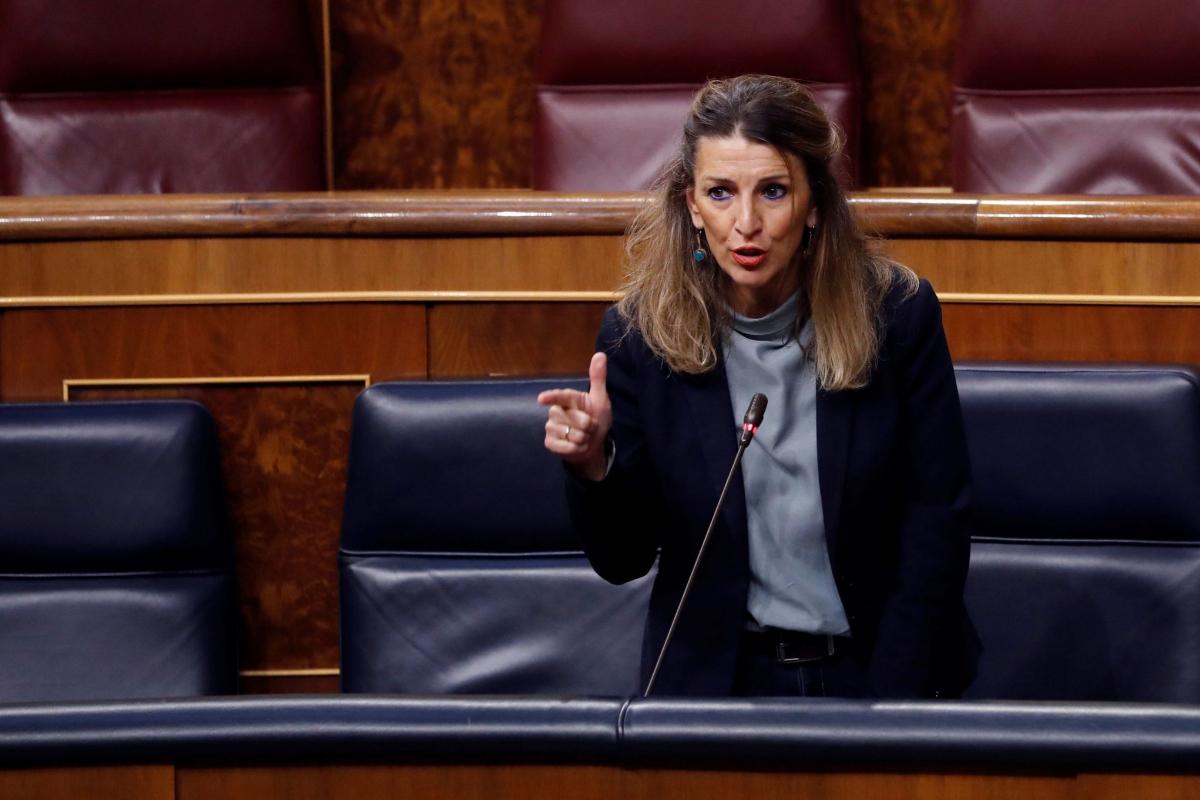 La ministra de Trabajo, Yolanda Díaz, en la sesión de control al Gobierno celebrada en el Congreso.