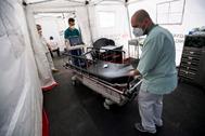 Trabajadores sanitarios transportan un instrumento de tests en una tienda instalada en el hospital Heim Pál de Budapest para realizar el triaje de pacientes.