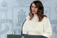 Yolanda Díaz , ministra de Trabajo, en una de sus comparecencias públicas.