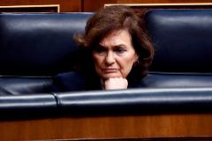 Carmen Calvo el 18 de marzo en el Congreso, una semana antes de dar positivo por coronavirus.