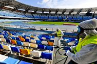 Naples (Italy).- (FILE) - Operators of 'Napoli Servizi' sanitize the San Paolo stadium in Naples to prevent the dangers of contagion of Coronavirus, Naples, Italy, 04 March 2020 (reissued on 18 April 2020). According to Italian media reports the 'Artemio Franchi' in Florence could be one of the stadiums to host the rest of lt;HIT gt;Serie lt;/HIT gt; A season if and when the Italian soccer league will get the green light to re-start after the suspension for the coronavirus COVID-19 pandemic. (Italia, Florencia, Nápoles) EPA/ *** Local Caption *** 55926858