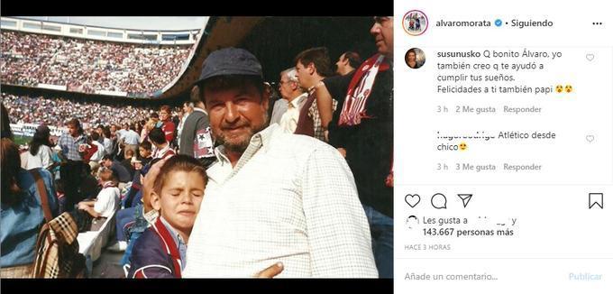 Morata, en el Calderón junto a su padre.