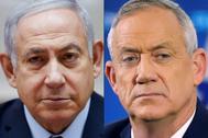 El primer ministro israelí, Benjamin Netanyahu, y el líder centrista Benny Gantz, en imágenes de archivo.