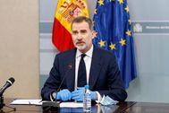 El Rey, durante una videoconferencia con motivo de la crisis del coronavirus