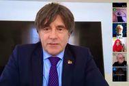 Carles Puigdemont, en una imagen de una videoconferencia compartida en su perfil de Twitter durante el confinamiento.