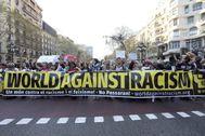 Manifestación contra el racismo en Barcelona hace un año
