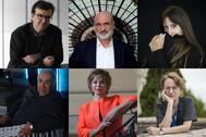 De arriba abajo y de izda. a dcha: Javier Cercas, Fernando Aramburu, Dolores Redondo, Joan Margarit, Isabel Allende y Marta Sanz.