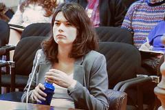 Isa Serra durante el juicio en el Tribunal Superior de Justicia de Madrid