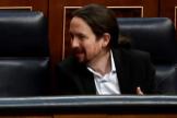 Pedro Sánchez y Pablo Iglesias, este miércoles en el Congreso.