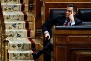 El presidente del Gobierno, Pedro Sánchez, en el pleno de este miércoles en el Congreso.