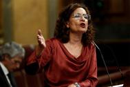 La portavoz del Gobierno, María Jesús Montero, este miércoles, en el Congreso.