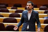 El portavoz de ERC en el Senado, Bernat Picornell,  en la sesión de control al Gobierno celebrada el pasado martes.
