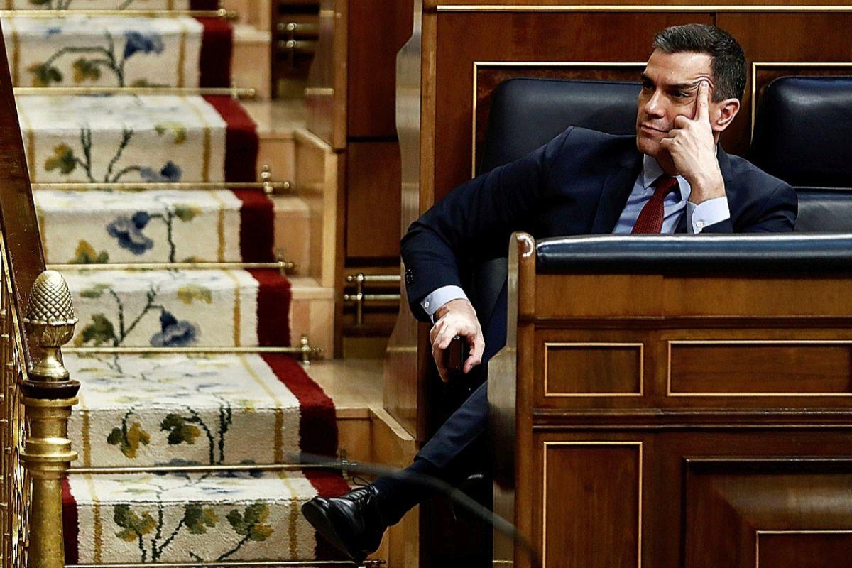 El presidente del Gobierno, Pedro Sánchez, durante el pleno celebrado ayer en el Congreso. EFE / Mariscal POOL