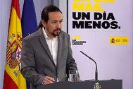 El vicepresidente Pablo Iglesias este jueves en el Palacio de la Moncloa.