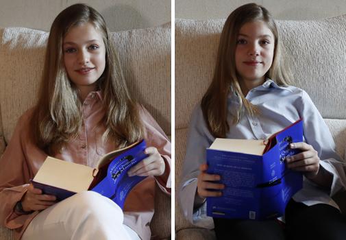 La Princesa Leonor y la Infanta Sofía durante su lectura de 'El Quijote'.