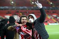 Aficionados del Atlético en Anfield.