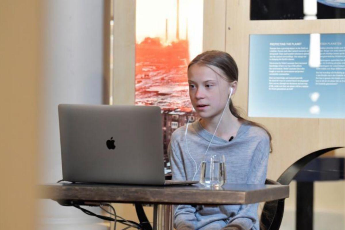 Greta Thunberg participa en una conferencia digital con Johan Rockstrom el pasado miércoles, Día de la Tierra