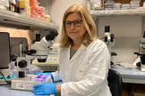 La viróloga Elisa Vicenzi en su laboratorio.