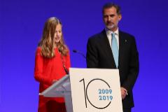 Leonor durante si intervención en los Premios Princesa de Girona.