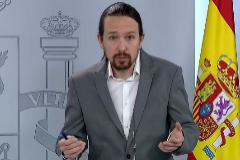 El vicepresidente segundo Pablo Iglesias en  rueda de prensa en La Moncloa.