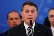 El presidente Bolsonaro durante una rueda de prensa en Brasilia.