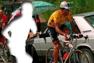 Recreación de una imagen de Miguel Indurain, en el Tourmalet, en el Tour de 1995.