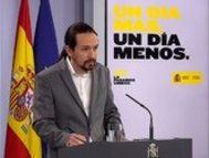 Captura de la señal institucional del Palacio de la Moncloa del vicepresidente segundo y ministro de Derechos Sociales.