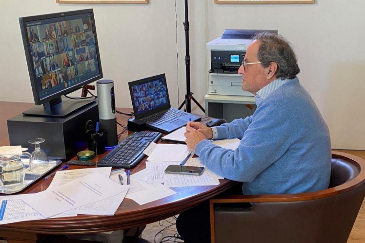 Quim Torra, durante la videoconferencia de presidentes.