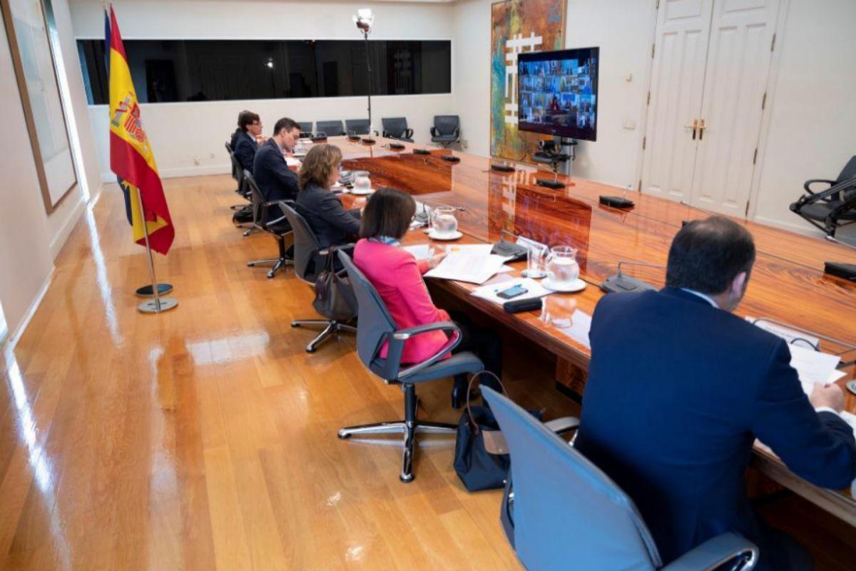 Un momento de la reunión de Sánchez con los presidentes autonómicos.
