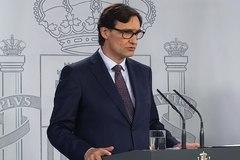 Salvador Illa, ministro de Sanidad, en la comparecencia de hoy.