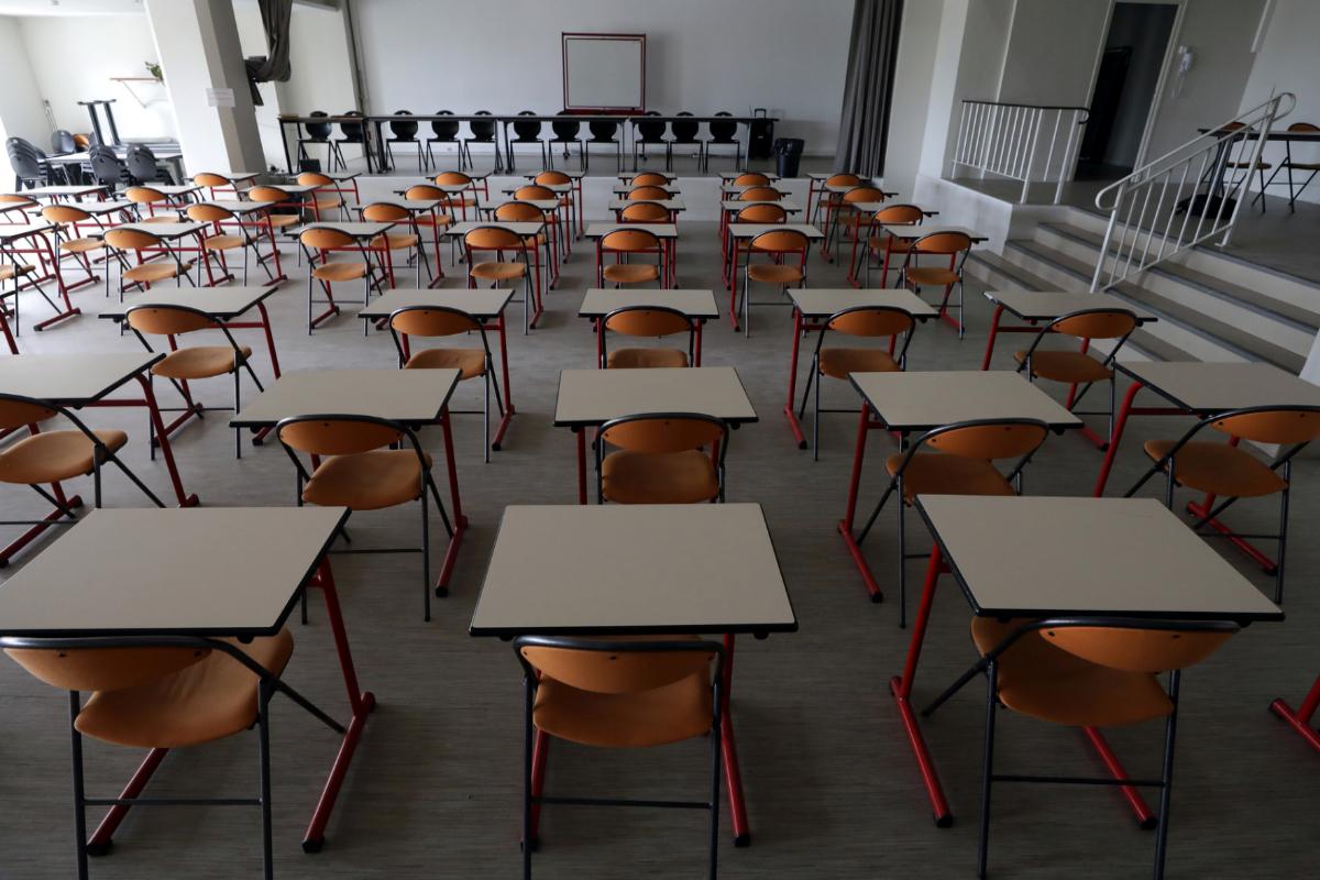 Un aula de secundaria en un instituto de Niza.