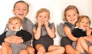 Los cinco niños de Cristina Martínez Gijón: Álvaro, Candela, Catalina, Gonzalo y Jacobo.