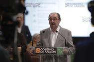 El presidente de Aragón, Javier Lambán, en rueda de prensa.