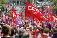 Manifestación con motivo del Primero de Mayo, Día del Trabajo, en 2019, en Madrid.