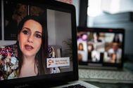 La líder de Ciudadanos, Inés Arrimadas, en una rueda de prensa realizada por videoconferencia.