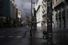 La Gran Vía de Madrid durante el estado de alarma causado por la crisis del coronavirus.