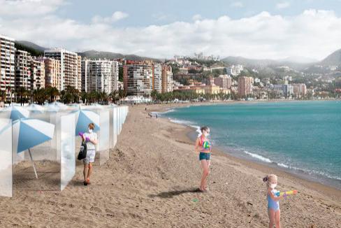 Recreación del sistema de pantallas instalado en una playa.
