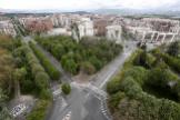 Vista aérea de una de las vías principales de entrada a Pamplona, sin tráfico, el pasado 17 de abril