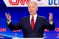 FILE PHOTO: Democratic U.S. presidential candidate and former Vice President lt;HIT gt;Joe lt;/HIT gt; lt;HIT gt;Biden lt;/HIT gt; speaks at the 11th Democratic candidates debate of the 2020 U.S. presidential campaign in Washington
