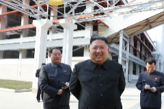 (Korea, Democratic People''s Republic Of), 01/05/2020.- A photo released by the official North Korean Central News Agency () shows North Korean leader lt;HIT gt;Kim lt;/HIT gt; Jong-un (2-L) attending a completion ceremony of a factory, which has been built as the production base of Juche fertilizer, on May Day, in Sunchon, North Korea, 01 May 2020 (issued 02 May 2020). EPA/ EDITORIAL USE ONLY EDITORIAL USE ONLY